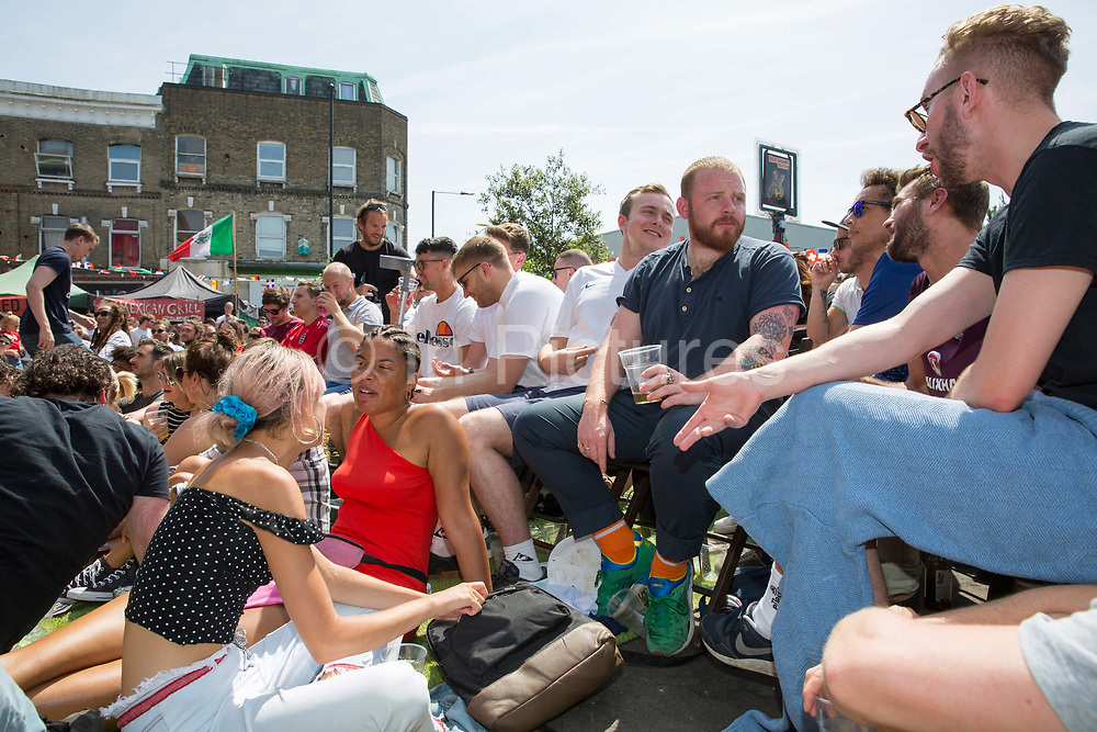 Live screening of Englands 6 1 win against Panama at the popular South London bar and music venue, the Hootananny, during Group G's match of the 2018 Football World Cup on the 24th June 2018 in Brixton in the United Kingdom.