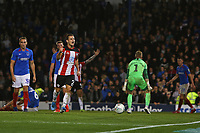 Football - 2019 / 2020 EFL Carabao (League) Cup - Portsmouth vs. Southampton <br /> <br /> Southampton's Cedric Soares celebrates his goal in front the traveling fans at Fratton Park <br /> <br /> COLORSPORT/SHAUN BOGGUST
