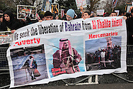 A protest was held outside of the Bahraini Embassy in support of the attempts in Bahrain to overthrow the monarchy London, UK , 19/02/2011.
