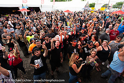 Crowd in front of the main stage at the wet-t shirt contest at the Laconia Roadhouse during Laconia Motorcycle Week. NH, USA. Wednesday, June 13, 2018. Photography ©2018 Michael Lichter.