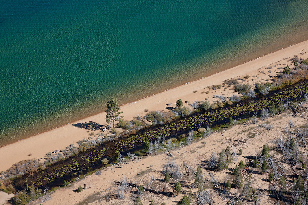 """""""Tahoe Shoreline Aerial 1"""" - Photograph of the shoreline at Lake Tahoe, shot from an amphibious seaplane with the door removed."""