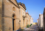 Family crypts in the town cemetery at Castellammare del Golfo, Sicily, Italy