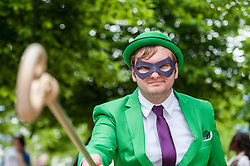 "© Licensed to London News Pictures. 29/05/2016. London, UK. A man dresses as ""The Riddler"", as cosplayers visit the Excel Centre on the last day of the popular MC Comic Con, a three day event celebrating games, anime, movies and more. Photo credit : Stephen Chung/LNP"