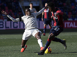 BOLOGNA, Feb. 25, 2019  Juventus's Blaise Matuidi (L) vies with Bologna's Ibrahima Mbaye during a Serie A soccer match between Bologna and FC Juventus in Bologna, Italy, Feb. 24, 2019. FC Juventus won 1-0. (Credit Image: © Augusto Casasoli/Xinhua via ZUMA Wire)