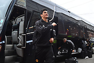 Raul Jimenez (9) of Wolverhampton Wanderers gets of the bus on arrival at Ashton Gate Stadium before the The FA Cup 5th round match between Bristol City and Wolverhampton Wanderers at Ashton Gate, Bristol, England on 17 February 2019.