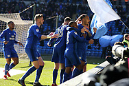 Kenneth Zohore of Cardiff city ® celebrates with his teammates after he scores his teams 1st goal. EFL Skybet championship match, Cardiff city v Bristol city at the Cardiff city stadium in Cardiff, South Wales on Sunday 25th February 2018.<br /> pic by Andrew Orchard, Andrew Orchard sports photography.