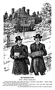 """Retrospection. Scene- Aesthetic neighbourhood. Converted betting man (plays first concertina in Salvation Army band). """"Pooty 'ouses they builds in these subu'bs, Mr Swagget."""" Mr S (reformed burglar and banner-bearer in the same). """"Ah! And how 'andy them little bal-co-nies 'a' been in former-"""" [A warning flourish on the concertina, and Mr S drops the subject!"""