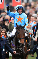 Jockey Ruby Walsh on Un De Sceaux after winning the Ryanair Chase during St Patrick's Thursday of the 2017 Cheltenham Festival at Cheltenham Racecourse.