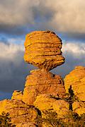 Big Balanced Rock at Sunset with clouds, Chiricahua Wilderness, Chiricahua National Monument, Cochise County, Arizona
