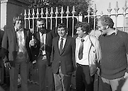 Release of Fishermen from Mountjoy..1982.22.10.1982.10.22.1982.22nd October 1982.As a result of E.U Fisheries policy, in regard to a total ban on herring fishing in the Irish Sea,blockades of eastern fishing ports were started. Several fishermen were imprisioned as a result..(L-R) Tony Faherty,Kilronan, Nicholas McMahon,Cahirciveen, Joe Maddoch,Chairman,IFO,Kilmore Quay, Joe O'Shea,Cahirciveen and Peter Mullen,Kilronan, on their release from prison...pictures  of ireland.pictures.Photos of Ireland.Photos .old pictures.old photos  of ireland.old photos.old photographs  of ireland.old photographs. images of Ireland.images.historic images  of ireland.historic images.Black and White images of Ireland.