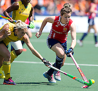 THE HAGUE - South Africa (RSA) vs England. Laura Unsworth (r) with Shelley Russell (l)  COPYRIGHT KOEN SUYK