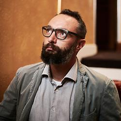 Francesco Filippi, an historian, posing in a hotel lobby. Paris, France. September 9, 2020.<br /> Francesco Filippi, historien, prenant la pose dans le lobby d'un hotel. Paris, France. 9 septembre 2020.