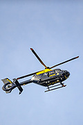 Birmingham, United Kingdom, June 14, 2021: West Midlands Police Helicopter is seen observing the scene in Kitts Green in Birmingham in a bid to resolve the situation after Palestine Action activists say they are 'occupying' the site claiming the company 'provided cladding for Grenfell Tower' and 'materials for Israel's fighter jets.' (Photo by Vudi Xhymshiti)