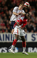 Photo: Lee Earle.<br /> Charlton Athletic v Tottenham Hotspur. The Barclays Premiership. 07/05/2007.Charlton's Darren Bent (R) clashes with Michael Dawson.