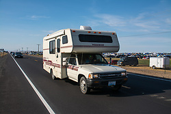 August 19, 2017 - An RV passing outside a temporary camping area as thousands gatherd at Madras, Oregon to watch the solar eclipse that is going to happen on Monday (Credit Image: © Dimitrios Manis via ZUMA Wire)