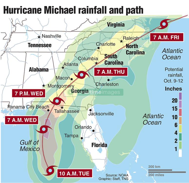 October 9, 2018 - USA - Rain prediction for Hurricane Michael over the next three days. (Credit Image: © Greg Good/Tns/TNS via ZUMA Wire)