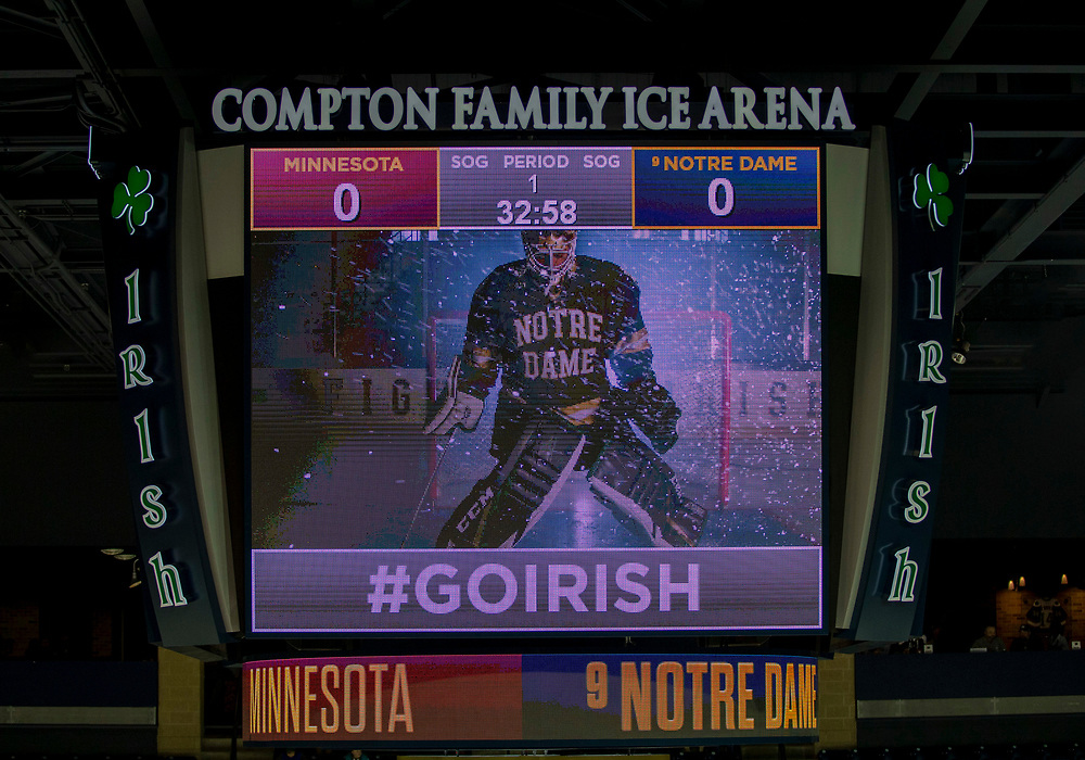January 11, 2019:  A general view of scoreboard prior to NCAA Hockey game action between the Minnesota Golden Gophers and the Notre Dame Fighting Irish at Compton Family Ice Arena in South Bend, Indiana.  Minnesota defeated Notre Dame 5-1.  John Mersits/CSM