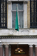 Exterior of the London Libyan emmassy that still flies the pro-Gaddafi flag.
