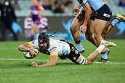 Brayden Iose makes a break to score a try. Waratahs v Hurricanes. 2021 Super Rugby Trans Tasman Round 1 Match. Played at Sydney Cricket Ground on Friday 14 May 2021. Photo Clay Cross / photosport.nz