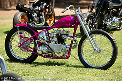 Invited builder Ryan Mullion's custom 1953 Triumph 6T in the Invited builder corral at the Born Free chopper show on setup day in Silverado, CA. USA. Friday June 22, 2018. Photography ©2018 Michael Lichter.