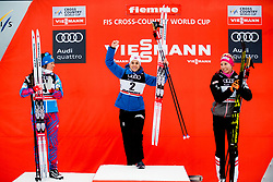January 6, 2018 - Val Di Fiemme, ITALY - 180106 Krista Parmakoski of Finland, Heidi Weng of Norway and Teresa Stadlober of Austria celebrate on the podium after women's 10km mass start classic technique during Tour de Ski on January 6, 2018 in Val di Fiemme..Photo: Jon Olav Nesvold / BILDBYRN / kod JE / 160122 (Credit Image: © Jon Olav Nesvold/Bildbyran via ZUMA Wire)