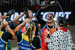 "Emi van Driel, Mexime van Driel, Eduarda Santos Lisboa ""Duda"" BRA, Agatha Bednarczuk BRA, Madelein Meppelink, Sanne Keizer during the ceremony on the last day of the beach volleyball event King of the Court at Jaarbeursplein on September 12, 2020 in Utrecht."