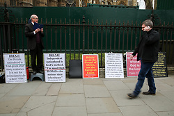 March 28, 2019 - London, UK, United Kingdom - A preacher is seen with Brexit focussed religious placards outside the Houses of Parliament during the protest..On Friday 29 March 2019 MPs will vote on British Prime Minister Theresa May withdrawal agreement. (Credit Image: © Dinendra Haria/SOPA Images via ZUMA Wire)