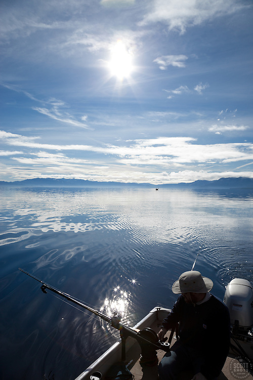 """""""Fishing on Lake Tahoe 4"""" - This man was photographed fishing for Mackinaw near the West shore of Lake Tahoe, California."""