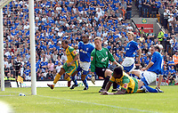 Photo: Ashley Pickering.<br /> Norwich City v Ipswich Town. Coca Cola Championship. 22/04/2007.<br /> Dickson Etuhu (yellow R) scores the opening goal for Norwich