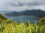 A rainbow shines over Tawa Bay, Queen Charlotte Track, South Island, New Zealand