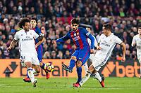 Real Madrid's Marcelo Vieira, Lucas Vazquez, FC Barcelona's Andre Gomes during spanish La Liga match between Futbol Club Barcelona and Real Madrid  at Camp Nou Stadium in Barcelona , Spain. Decembe r03, 2016. (ALTERPHOTOS/Rodrigo Jimenez)