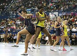 Manchester Thunder's Joyce Mvula (right) and benecosMavericks Jo Trip (left) during the Vitality Netball Superleague Super Ten match held at Arena Birmingham.