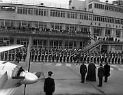 19/03/1961<br /> 03/19/1961<br /> 19 March 1961<br /> Papal Legate Cardinal James Francis McIntyre from Los Angeles departing from Dublin Airport having been in Ireland for the Patrician year celebrations that were held to commemorate 1,500 years of devotion to St Patrick in Ireland. Here the Cardinal is seen inspecting the guard of honour at the airport.