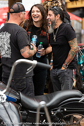 Xavier Muriel and Bill Dodge at the ron Horse Saloon during the 78th annual Sturgis Motorcycle Rally. Sturgis, SD. USA. Sunday August 5, 2018. Photography ©2018 Michael Lichter.