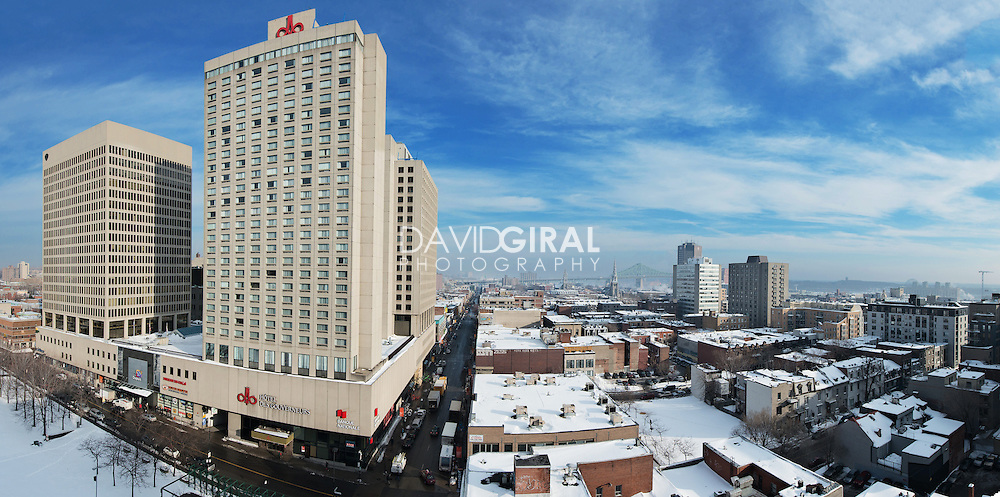 aerial view of Place Dupuis, Ville Marie District, Montreal, Quebec, Canada