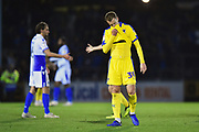Joe Pigott (39) of AFC Wimbledon looks dejected at full time after a 2-0 loss to Bristol Rovers during the EFL Sky Bet League 1 match between Bristol Rovers and AFC Wimbledon at the Memorial Stadium, Bristol, England on 23 October 2018.