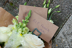 ©Licensed to London News Pictures26/07/2020     <br /> Chislehurst, UK. Flowers say RIP Frank. A police cordon is still in place this morning and flowers have been left at the scene of a fatal hit and run in Chislehurst, South East London. The incident happened on Friday night after a double stabbing at a local pub. Photo credit: Grant Falvey/LNP