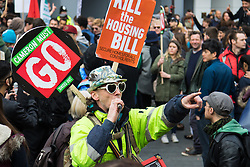 """London, April 16th 2016. A breakaway group of protesters invade Leicester Square after thousands of people supported by trade unions and other rights organisations demonstrate against the policies of the Tory government, including austerity and perceived favouring of """"the rich"""" over """"the poor""""."""