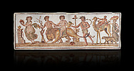 Picture of a Roman mosaics design depicting Dionysus riding a lion; from the ancient Roman city of Thysdrus. 2nd century AD House of the Dionysus Proccession. El Djem Archaeological Museum; El Djem; Tunisia. Against a black background .<br /> <br /> If you prefer to buy from our ALAMY PHOTO LIBRARY Collection visit : https://www.alamy.com/portfolio/paul-williams-funkystock/roman-mosaic.html . Type - El Djem - into the LOWER SEARCH WITHIN GALLERY box. Refine search by adding background colour, place, museum etc<br /> <br /> Visit our ROMAN MOSAIC PHOTO COLLECTIONS for more photos to download as wall art prints https://funkystock.photoshelter.com/gallery-collection/Roman-Mosaics-Art-Pictures-Images/C0000LcfNel7FpLI