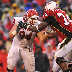 Sep 26, 2009; College Park, MD, USA; Rutgers defensive tackle Scott Vallone (94) battles Maryland offensive lineman Bruce Campbell (74) during Rutgers' 34-13 victory over Maryland in NCAA college football at Byrd Stadium.