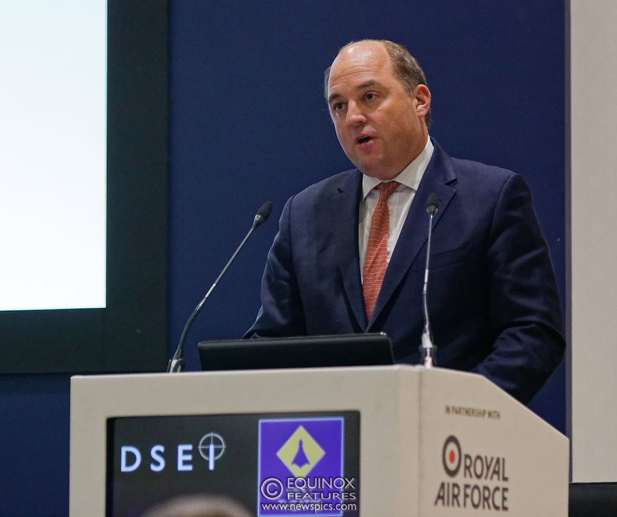 London, United Kingdom - 11 September 2019<br /> The Rt Hon Ben Wallace MP. Secretary of State for Defence for the UK Government presents keynote address speech to audience at DSEI 2019 security, defence and arms fair at ExCeL London exhibition centre.<br /> (photo by: EQUINOXFEATURES.COM)<br /> Picture Data:<br /> Photographer: Equinox Features<br /> Copyright: ©2019 Equinox Licensing Ltd. +443700 780000<br /> Contact: Equinox Features<br /> Date Taken: 20190911<br /> Time Taken: 12381402<br /> www.newspics.com