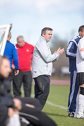 Edinburgh City's manager Gary Jardine. <br /> Edinburgh City 1 v 1 Brora Rangers, 1st leg, Pyramid Playoffs at Meadowbank, 25/4/2015.