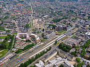 Nederland, Overijssel, Gemeente Enschede; 21–06-2020; Station Enschede, treinstation NS en directe omgeving. Het station is een dubbel kopstation, onder andere de Euregio-Bahn (naar Duitsland). OP het staion intercities van de NS en trein van Blauwnet, Keolis Nederland.<br /> Enschede station, NS train station and immediate surroundings. The station is a double terminus, including the Euregio-Bahn (to Germany).<br /> <br /> luchtfoto (toeslag op standaard tarieven);<br /> aerial photo (additional fee required)<br /> copyright © 2020 foto/photo Siebe Swart