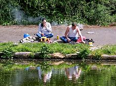 Men Fishing in Forth Canal During Lockdown, Edinburgh 20 May 2020