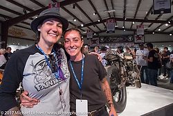 Custom builders Jody Perewitz and J Shia at the Old Iron - Young Blood exhibition media and industry reception in the Motorcycles as Art gallery at the Buffalo Chip during the annual Sturgis Black Hills Motorcycle Rally. Sturgis, SD. USA. Sunday August 6, 2017. Photography ©2017 Michael Lichter.