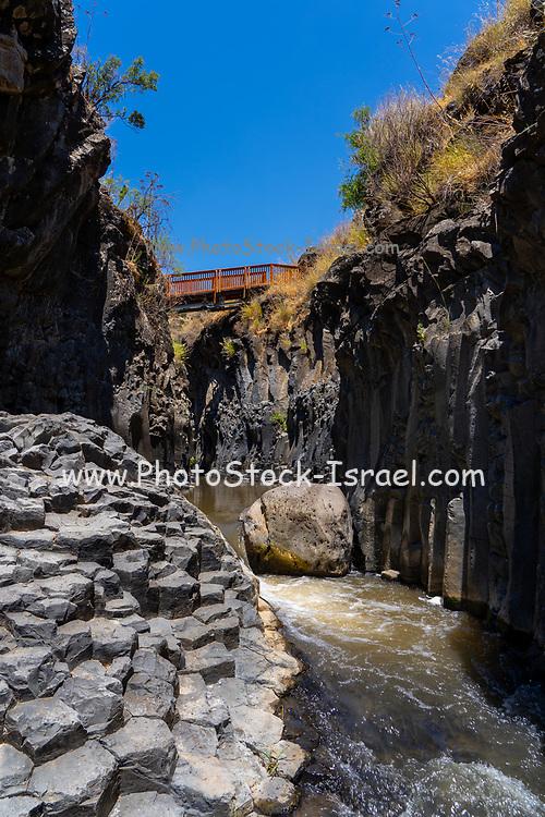 Israel, Golan Heights, Yehudiya Nature Reserve, the Waterfall in Nahal Zavitan [Zavitan Stream]