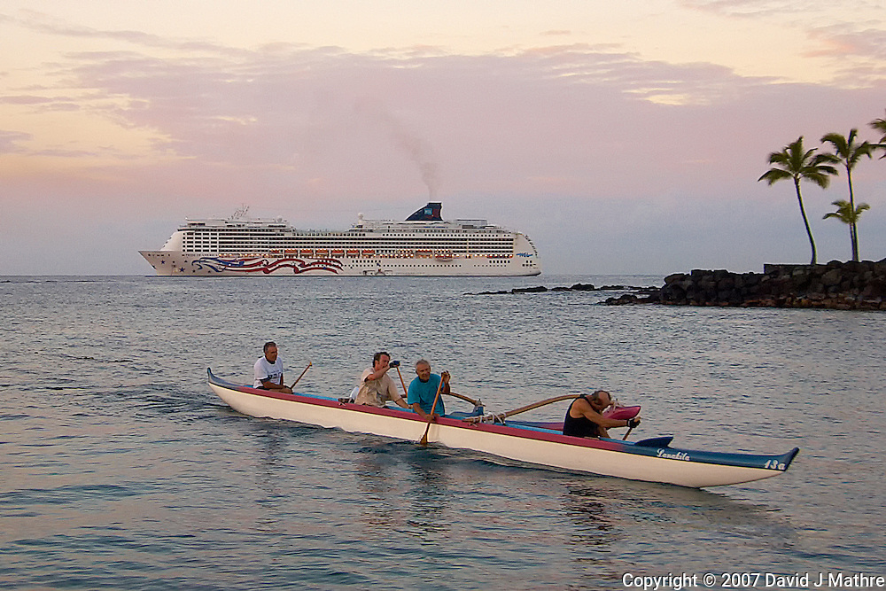 Hawaiian Outrigger Canoe and Cruise Liner Early Morning on Kona Bay. Image taken with a Nikon D2xs and 12-24 mm f/4 lens (ISO 100, 24 mm, f/4, 1/250 sec).