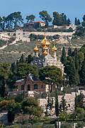 Church of Mary Magdalene, Jerusalem, Israel. Striking, 19th-century, Russian Orthodox church with golden cupolas & murals by Sergei Ivanov. The church is part of the Convent of St. Mary Magdalene, a sisterhood established in 1936 by an English convert and working under the jurisdiction of the Russian Orthodox Church Outside Russia