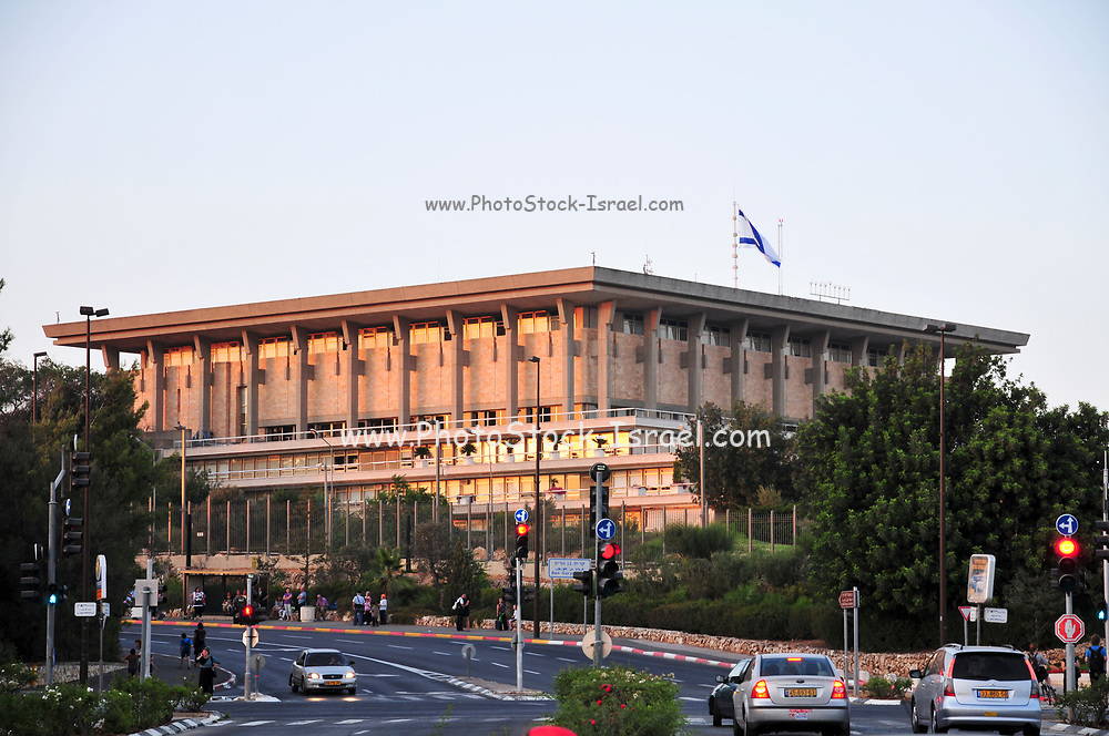Israel, Jerusalem, The Knesset, Israeli parliament. A view from the Israel Museum