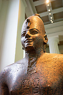 Statue of Egyptian Pharaoh Thutmose III wearing the white crown of upper Egypt (Hedjet) ca. 1479-1425 BC